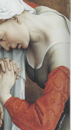 Rogier van der Weyden, Detail from The Descent from the Cross. Close up of front closure of kirtle, as well as the pin holding the sleeve on. 15th Century Dress, 15th Century Fashion, 15th Century Clothing, 14th Century, Medieval Costume, Medieval Dress, Medieval Art, Medieval Life, Renaissance Costume