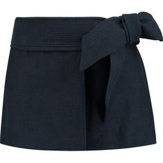 Étoile Isabel Marant Jodi cotton and linen-blend mini wrap skirt (190 CAD) ❤ liked on Polyvore featuring skirts, mini skirts, midnight blue, cotton skirt, wrap front skirt, blue skirt, cotton mini skirt and embroidered skirt