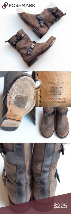"Rag & Bone Moto Ankle Boots Waxed Suede 37.5 Authentic rag & bone ankle boots. Modern pushpin hardware + contrast belts update a classic moto boot cast in waxed calfskin suede. Distressed look that makes each pair unique. Warm taupe/gray color, true to photos. 1"" heel, 8"" shaft. Smooth-leather straps. Leather lining and sole. Excellent condition, worn only a handful of times. Size 37.5, true to size 7.5 (these don't run small like the other styles). No box but will be shipped with care. ❌No…"