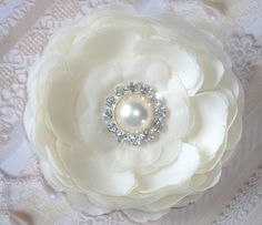 31/2'' The Clara flower Ivory silk flowers with pearl and diamond rhinestone hair clip headbands for the flower girls