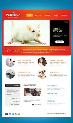 """Simple Veterinarian Web Design """"Pet Clinic"""" ~ Visit www.robotforce.com for Your very own CUSTOMIZED Version of this Web Design Template! ~"""