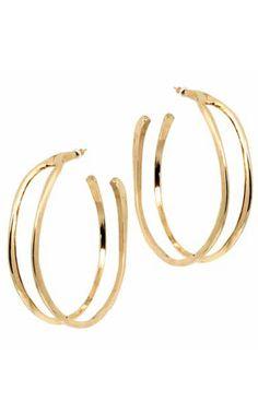 Belle Noel Gold Wishbone Hoop earrings. 14 kt. y/g plated wishbone hoop earrings