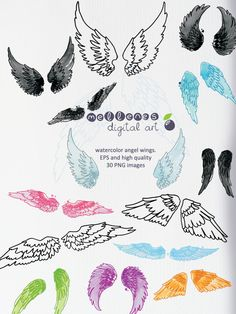 watercolor angel wings. Clip art / clipart scrapbook vector EPS and high quality PNG images for commercial and personal use by mellenes on Etsy https://www.etsy.com/listing/188580072/watercolor-angel-wings-clip-art-clipart
