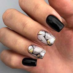 Winter Nail Art, Winter Nail Designs, Autumn Nails, Gel Nail Designs, Winter Nails, Stylish Nails, Trendy Nails, Cute Nails, Black Marble Nails