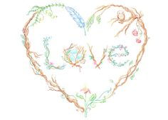 Love Card Tree Branch Art with Birds Nest and by WhiteFawnStudio, $16.00