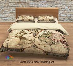 Vintage map bedding, Vintage old map duvet cover, Antique map queen / king / full Bedding Set, Vintage steampunk map Duvet cover set