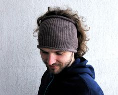 Knitted Mens Headband Guys knit hair wrap  Smoky brown by mareshop, $18.00