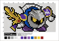 【星のカービィ】メタナイトのアイロンビーズ図案【スターアライズ】 | サキエルのアニメドット絵ブログ Minecraft Pattern, Minecraft Designs, Motifs Perler, Perler Patterns, Fuse Beads, Perler Beads, Pixel Art Grid, Anime Pixel Art, Dmc Embroidery Floss