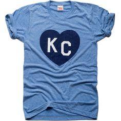 Light Blue KC Heart T-Shirt with Navy