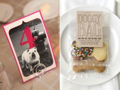 """At the reception, include photos of your pet on your table number cards, or make your wedding favors in tribute to your beloved pooch. Dog Wedding, Wedding Table, Wedding Favors, Wedding Reception, Dream Wedding, Wedding Day, Wedding Photos, Wedding Planning Tips, Wedding Planner"