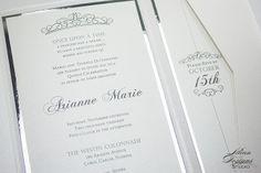 A unique, custom quince invitation in a pocket.