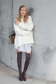 Suede over the knee boots & Cozy sweater
