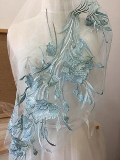 1 Pc Light Blue Large Exquisite Floral Tulip Embroidery Lace Applique fpr Prom Dress, Wedding Gonw D Maxi Skirt Winter, Lace Applique, Dress Wedding, Dance Costumes, Tulips, Hand Embroidery, Light Blue, Arts And Crafts, Prom Dresses
