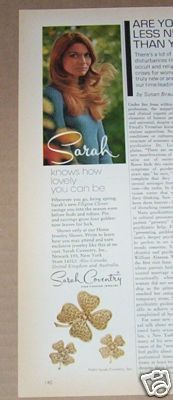1972 Sarah Coventry Ad Filigree Clover
