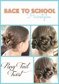Getting ready for Back to School with Back to School Hairstyles for girls! Fast and easy hairstyles you can do in very little time. Check out this Triple Pony Tail Twist.