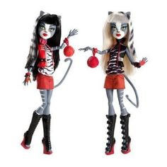 Monster High Action Figure Doll 2Pack Gift Set Werecat Sisters Meowlody Purrsephone:Amazon:Toys & Games