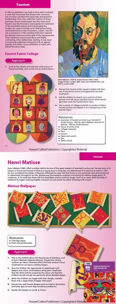 Ideas for exploring Fauvism and Henri Matisse - taken from Projects Inspired by Century Art
