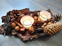 Tree Bark Candle Holder, Rustic Decor, Autumn table decor, Thanksgiving Table Decor Rustic Candle Holder, Housewarming gift, Wedding Centerpiece    Unique rustic decor! Great Thanksgiving centerpiece!      All the materials we used for making this candle holder are varnished for shine and protect: pinecones, acorns, acorns hats,wallnuts, alder pine cones, horse chestnuts, cinnamon sticks and more... the bark also is varnished!    This is lovely housewarming gift, unique handmade candle…