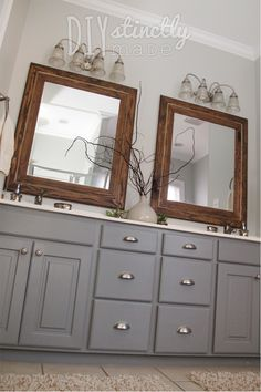 When we traded our huge builder grade mirror fortwo woodenframed mirrors Kurt made for me, I knew I would have to do some repainting. Before we moved in, we painted the bathroom walls a warm mudd…