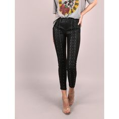 SheIn(sheinside) Coated Skinny Lace Up Pants (235 DKK) via Polyvore featuring pants, capris, black, skinny pants, stretch skinny pants, high waisted cropped pants, high-waisted pants and high waisted trousers