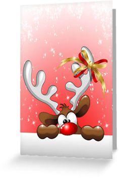 Funny Christmas Reindeer Cartoon | Greeting Card