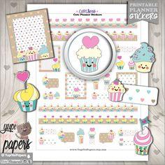 Cupcake Stickers, Planner Stickers, Cupcakes, Cake Stickers, Planner Accessories, Cute Stickers, Kawaii Stickers, Cakes, Erin Condren