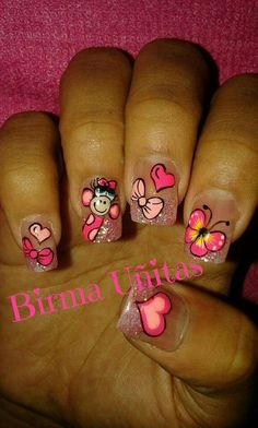 Uñas Decoradas  Birma Uñitas Spring Nail Art, Nail Designs Spring, Cute Nail Designs, Spring Nails, Edge Nails, Minimalist Nails, Cinderella Nails, Feather Nail Art, Nagel Hacks
