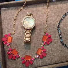 The Garden Party Necklace and the Gold Crown Watch #premierdesigns