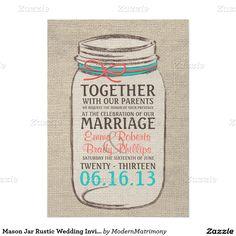 "Mason Jar Rustic Wedding Invitation - Coral Teal 5"" X 7"" Invitation Card"