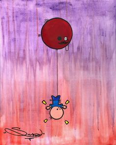 Balloon Abduction Art Print by Painting & Drawing, Balloons, Fine Art Prints, My Arts, Clock, Gallery, Drawings, Art Work, Collection