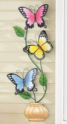 Climbing Butterflies Outdoor Metal Wall Art Sculpture Home Decor NEW Klettern Schmetterlinge Outdoor Metallwand Kunst Skulptur Home Decor neue Butterfly Wall Decor, Butterfly Crafts, Butterfly Wallpaper, Butterfly Art, Wrought Iron Wall Art, Iron Wall Decor, Wall Art Decor, Leaf Wall Art, Metal Tree Wall Art
