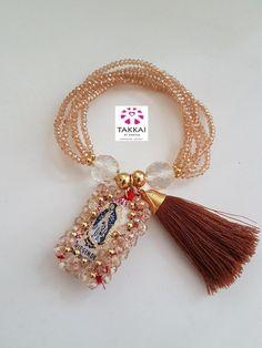 Lady Guadalupe Scapular Bracelets, Six Beige Bracelets with Lady Guadalupe Scapulary Mexican Jewelry, Virgin Bracelets, Catholic Bracelets Making Bracelets With Beads, Slap Bracelets, Crystal Bracelets, Friendship Bracelets, Diy Jewelry, Jewelry Bracelets, Jewelery, Beaded Jewelry, Catholic Jewelry