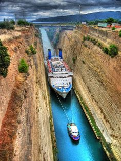 The Corinth Canal, Greece | The Ultimate Photos... seen this and the water is really that color but the walls look way more awesome in person