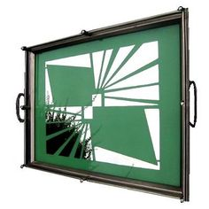 Art Deco oblong green tray with a fabulous geometric design