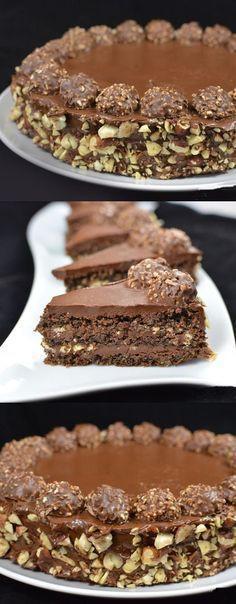 Ferrero Rocher cake recipe The fan favorite cake. This cake is always a hit. Torta Ferrero Rocher, Rocher Torte, Ferro Rocher Cake, Ferrero Rocher Cheesecake, Baking Recipes, Cake Recipes, Dessert Recipes, Chocolate Desserts, Chocolate Hazelnut