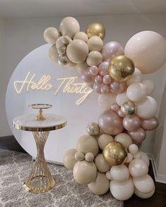 21st Bday Ideas, Birthday Balloon Decorations, Birthday Balloons, Birthday Party Decorations, 30th Birthday Parties, Balloon Garland, Balloon Inflator, Events, Wedding