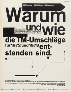 Typographische Monatsblätter (TM) 1960-1990  Design: Wolfgang Weingart