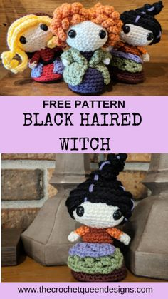 Black Haired Witch – The Crochet Queen Designs – Best Amigurumi Amigurumi Free, Crochet Patterns Amigurumi, Crochet Crafts, Crochet Toys, Loom Crochet, Kawaii Crochet, Knitted Dolls, Yarn Crafts, Tejido Halloween