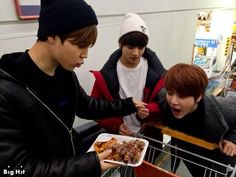 BTS members shops at a supermarket to buy food for the New Year's Day! View Article