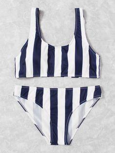 Double Scoop Striped Bikini Set