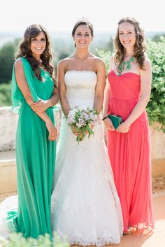 Bridesmaid's Gowns in Striking Colors! See more on SMP here: http://www.StyleMePretty.com/destination-weddings/2014/05/29/elegant-18th-century-palace-wedding-in-portugal/ Bride's Gown: Aire Barcelona -- Designer of Bridesmaids' Gowns: Unknown -- Photography: LoveIsMyFavoriteColor.com