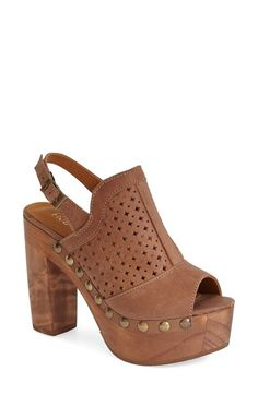 Free shipping and returns on five worlds by Cordani 'Tampico' Platform Sandal (Women) at Nordstrom.com. A smooth finish highlights the natural grain of the chunky wood heel and platform on a perforated leather slingback sandal punctuated by brassy studs.