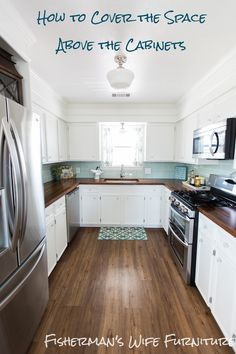 How to use and hide the space above the cabinets: Covering Fur Down - The Space Above the Cabinets - Fisherman's Wife Furniture - www.BrianandKaylor.com