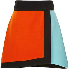 Fausto Puglisi Color-Blocked Wool Crepe Wrap Skirt (1 325 BGN) ❤ liked on Polyvore featuring skirts, mini skirts, fausto puglisi, wool skirt, wool mini skirt, short skirts and color block skirt