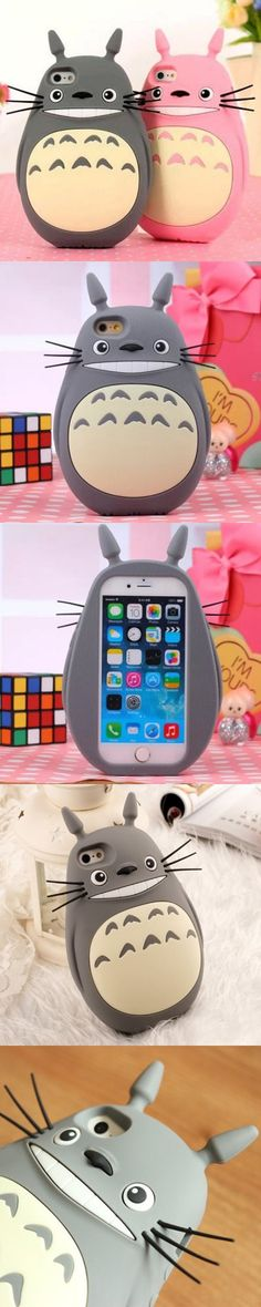 Rubber Mobile Phone Cover Case for iPhone 6 Plus Cute Fat Totoro Japanese Anime (Gray)