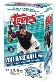 2011 Topps Series 2 MLB Baseball Factory Sealed Blaster Box+ Exclusive Commemorative Patch Card! by Topps. $18.99. This is for Brand New Super Hot 2011 Topps Series 2 MLB Factory Sealed EXCLUSIVE Retail Box. This Factory Sealed Box includes 10 Packs and 8 Cards Per Pack! Plus this Very Special Exclusive Factory Sealed Box includes One THROWBACK COMMEMORATIVE PATCH CARD! Look for Patch Cards of top MLB Superstars! Collect all 50 Different Patch Cards! Look for Spec...