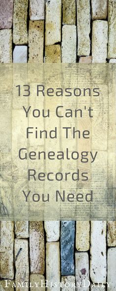 13 Reasons You Can't Break Down Your Genealogy Brick Wall Need help breaking down your genealogy research brick wall? Here are 13 tips to get your ancestry research moving again. Genealogy Websites, Genealogy Forms, Family Genealogy, Free Genealogy, Family Tree Research, Family Tree Chart, Family Trees, Genealogy Search, Family History Book