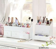 White Beauty Organizer IN STOCK 2 or 3 Drawer Makeup/Jewelry/Desk Wooden Storage | eBay