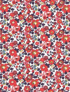 Liberty Betsy Ann A rouge - Feuille coupon de tissu thermocollant pour appliqués