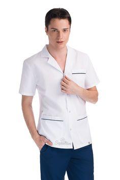 Chaqueta con vivos - 21 de Septiembre Scrubs Uniform, Maid Uniform, Apron Designs, Blouse Designs, White Nurse Dress, Nursing Jackets, Dental Uniforms, Lab Coats For Men, Housekeeping Uniform